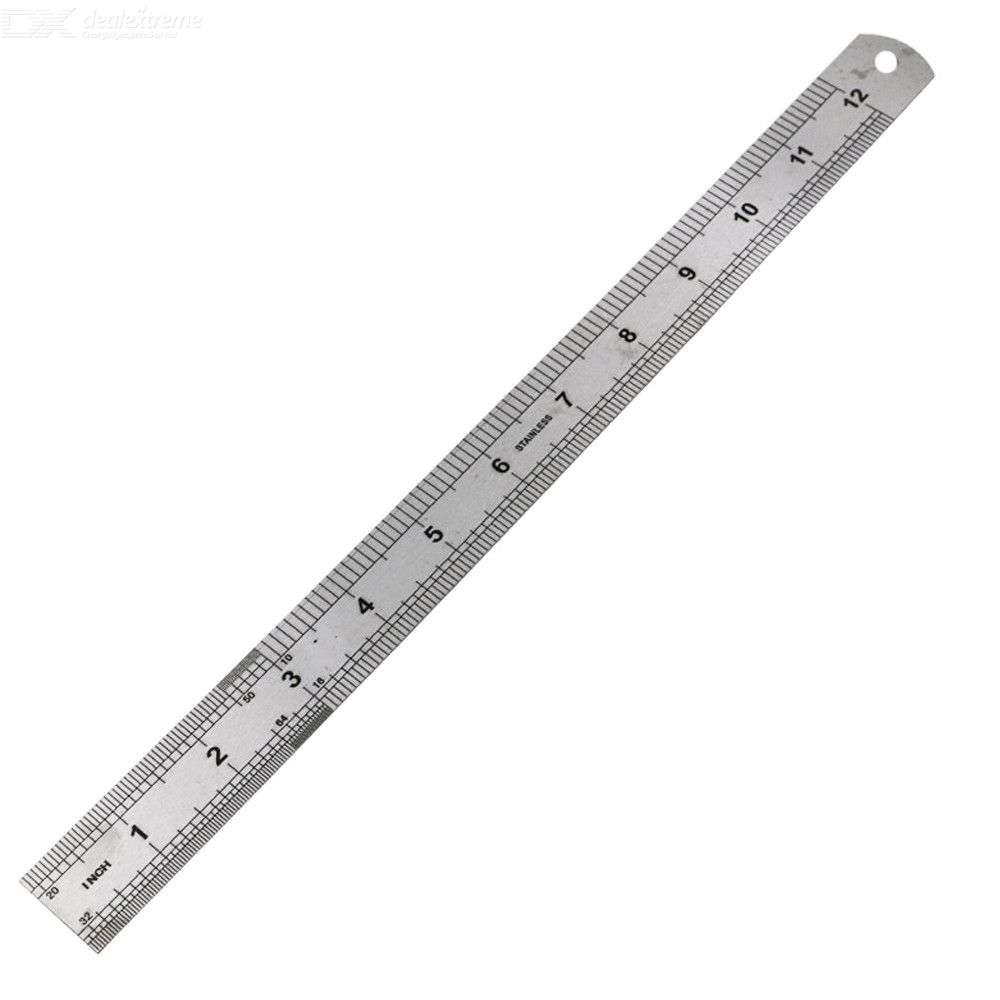 Double Scale 0-30cm / 0-12 inch Metric Stainless Steel Ruler