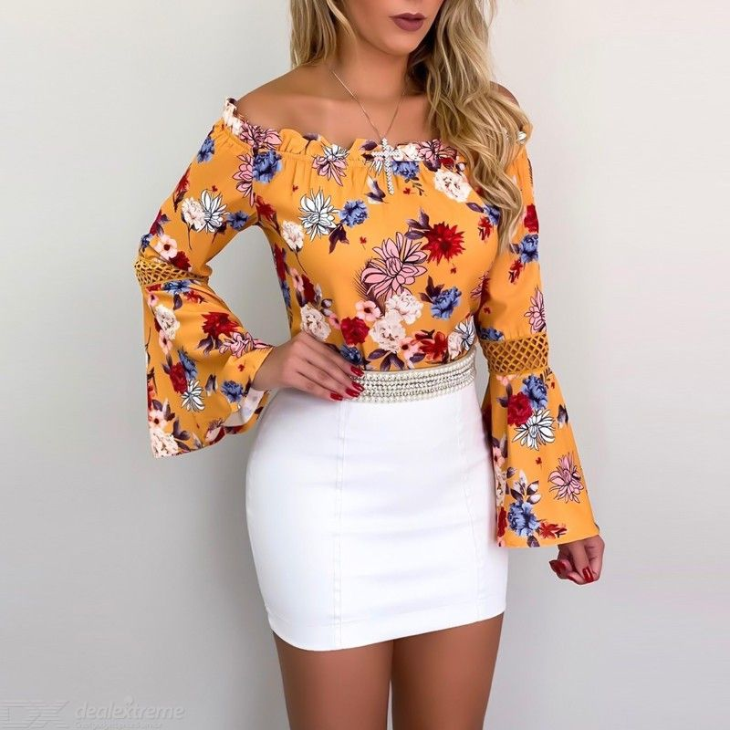 Slash Neck Off Shoulder Floral Print Hollow Out Flare Sleeve Top Chiffon Blouse for Women