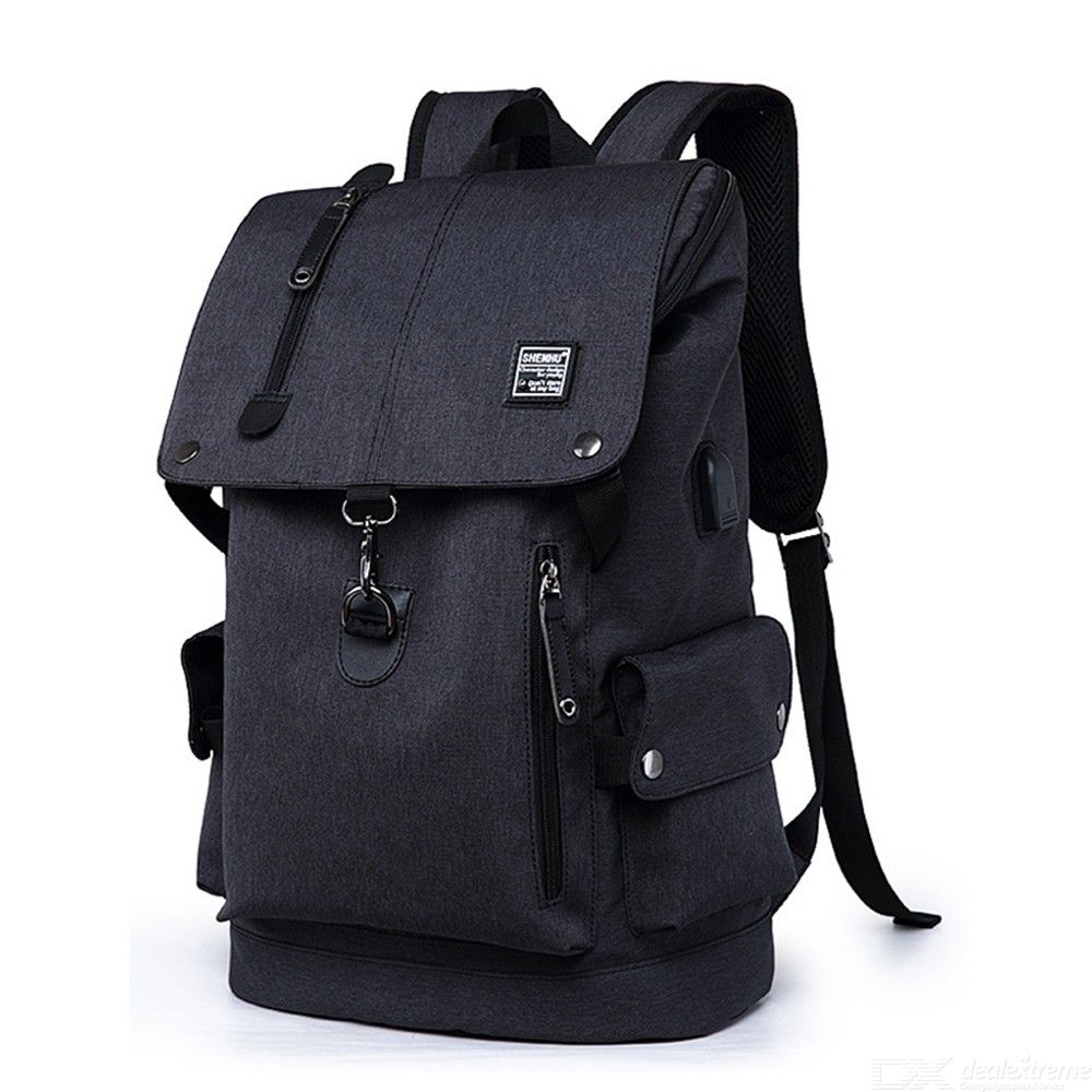 Mens Business Backpack Waterproof Canvas Backpack Anti-theft Laptop Backpack Travel Bag With USB Charging Port