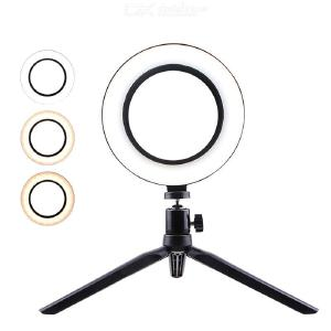Photography LED Selfie Makeup Mirror Light, 26cm Dimmable Ring Shape Camera Phone Fill Lamp with Table Tripod Phone Stand Holder
