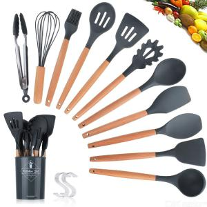 11PCS Kitchen Utensil Set Food-Grade Silicone Cookware With Wood Handles