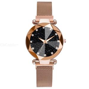 Luxury Women Starry Sky Diamond Dial Quartz Watch With Magnetic Mesh Band For Ladies