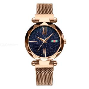 305 Fashion Luxury Starry Sky Dial Quartz Watch With Magnetic Mesh Band For Ladies