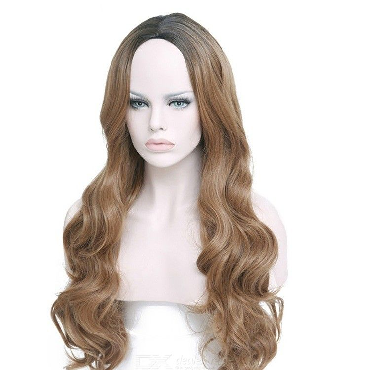 Women Brown Gradient Color Long Wavy Synthetic Hair Heat Resistant Lace Wig
