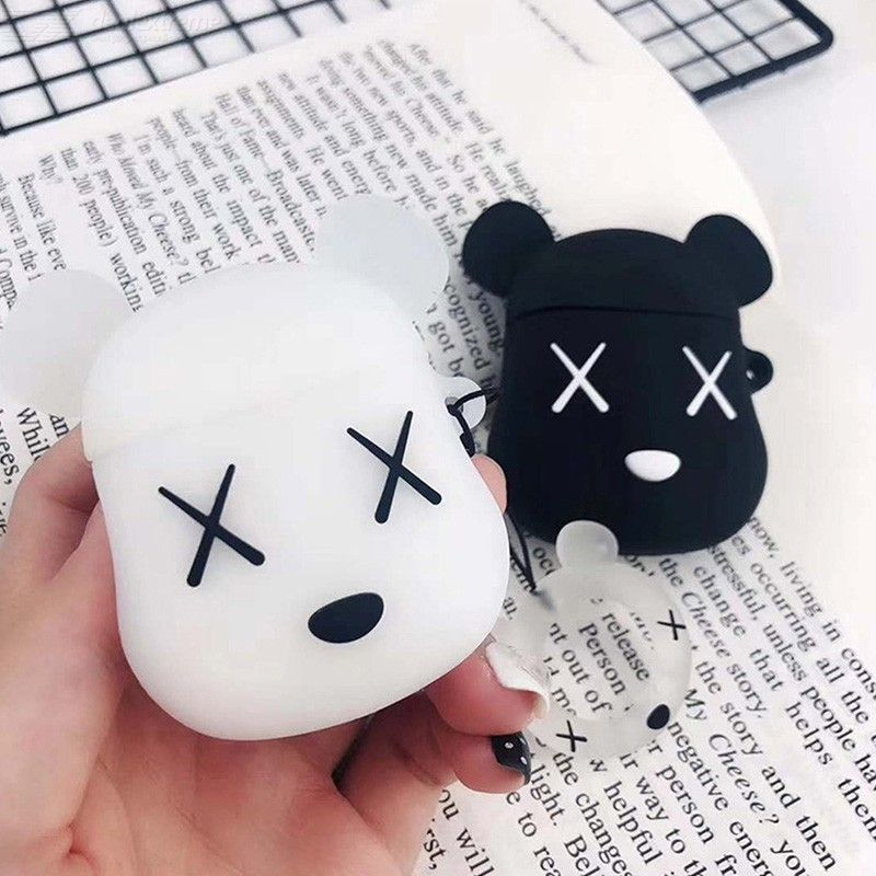 Cute Cartoon Ring Strap Earbuds Cover for Airpods 2, Soft Silicone Earphone Bag Protective Case For Airpods 1