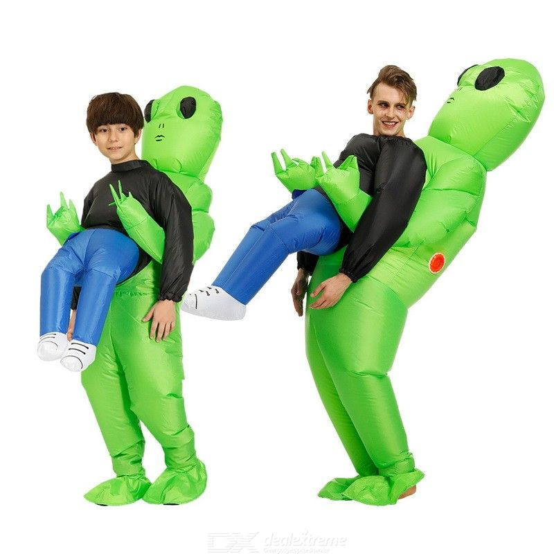 Green Alien Carrying Human Costume Inflatable Funny Blow Up Suit Kids Adult Cosplay Costume Fancy Dress