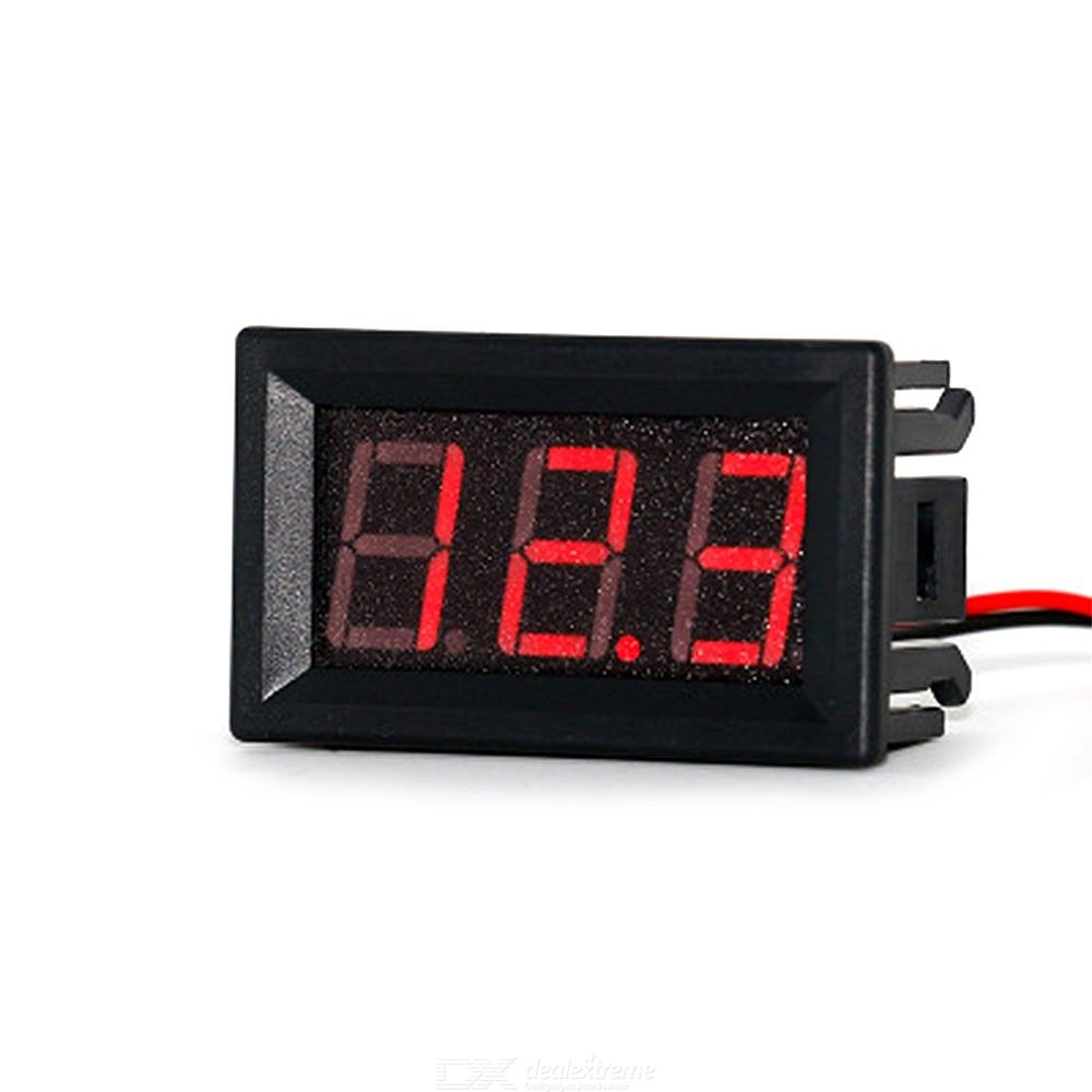 Mini Digital Voltmeter 2 Wires 0.56 Inch Voltage Tester Meter DC 2.4V-30V LED Display