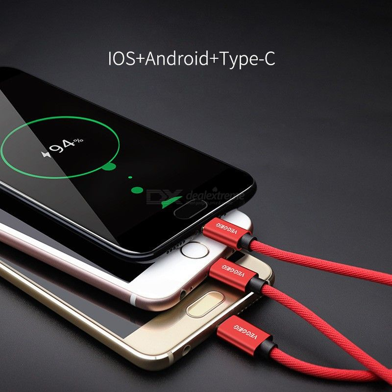 VEGGIEG Lightning USB Charging Cable For iPhone XS X 8 7 6, 3 in 1 Micro USB Cable For Android USB Type C Mobile Phone Cables