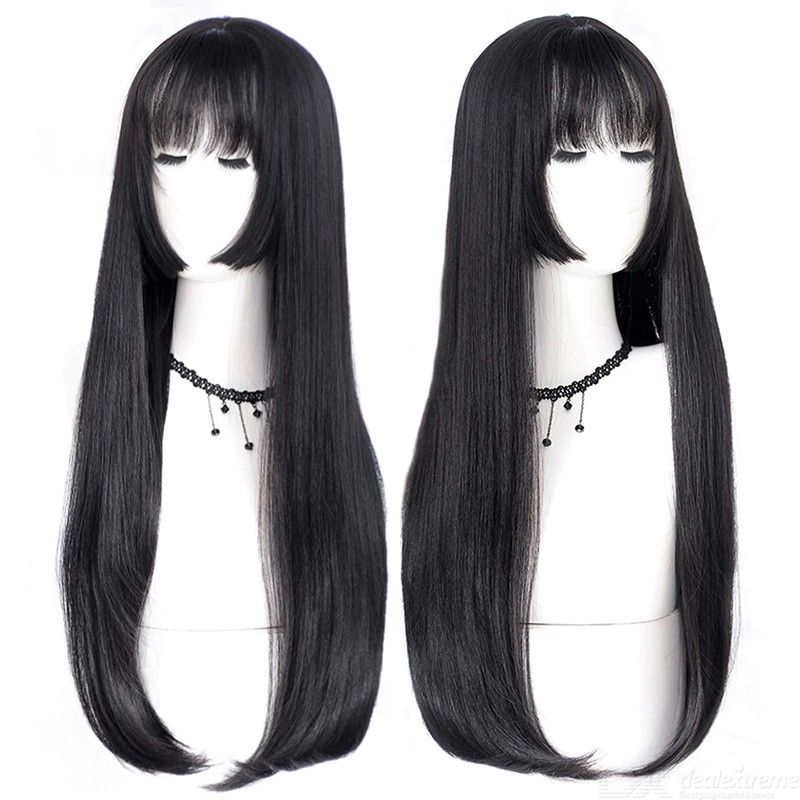 Long Straight Hair Black Synthetic Wigs For Women, Fashion Female Cosplay Party Christmas Wig