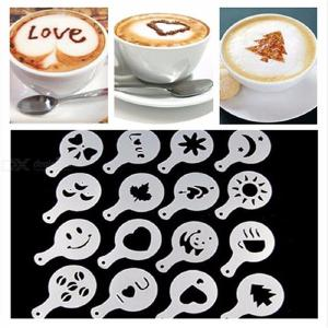 16PCS / Pack Coffee Molds with Different Designs, Milk Cake Cupcake Decoration Barista Stencil Template Spray Tool