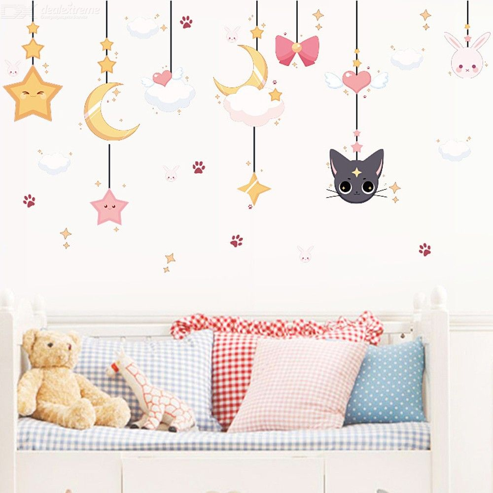 Cute Moon Star Cat Pattern Self Adhesive Wall Sticker, DIY Removable Wall Decal Home Decoration For Kids Bedroom TV Backdrop