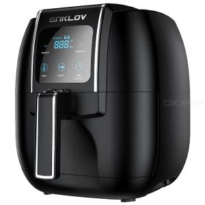 ENKLOV 5.5QT XL Fast 1350W Air Fryer With Recipe Guide, 2 In 1 Digital Display Oil Less Hot Airfryer Oven Electric Air Cooker