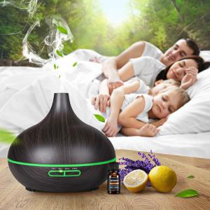 400ml Wood Grain Aromatherapy Machine Home Ultrasonic Air Humidifier Silent Essential Oil Diffuser With Remote Control