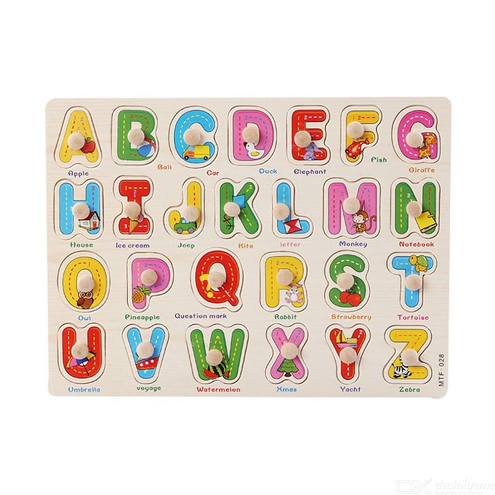 Wooden Alphabet Puzzle For Toddlers Baby Peg Puzzle Alphabet Puzzle Board For Early Learning