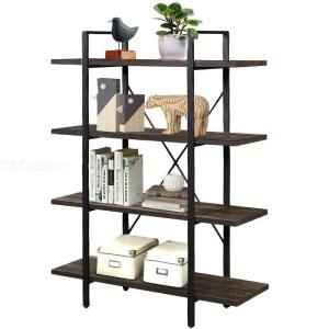 Open Wide Etagere 4-Tier Industrial Bookshelf Display Decor, Accent Metal Frame Wood Shelves Multipurpose Storage Organizer