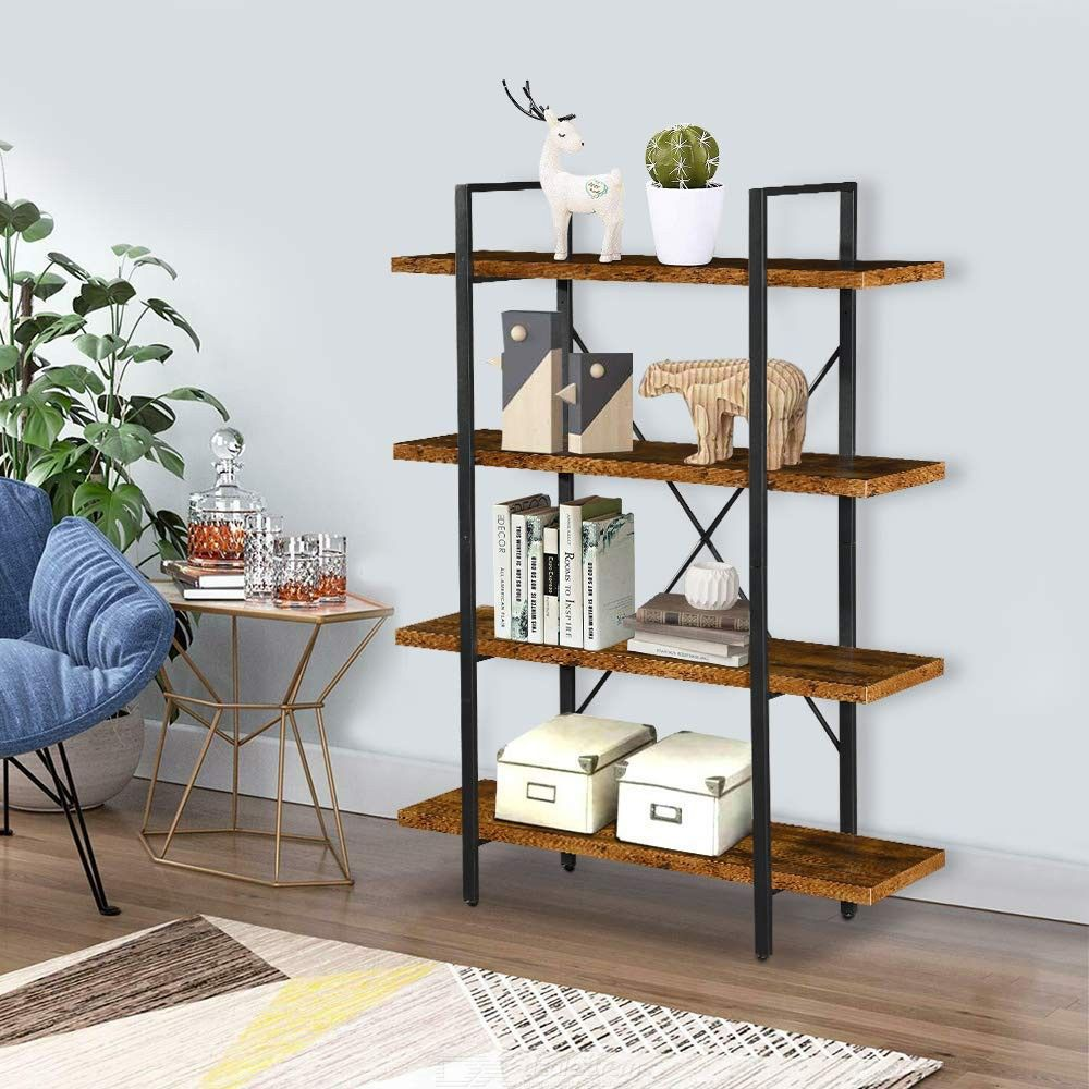 4-Tier Rustic Industrial Etagere Bookcase Display Shelf, Sturdy Metal Frame And Wood Shelves Open Wide Farmhouse Book Shelf