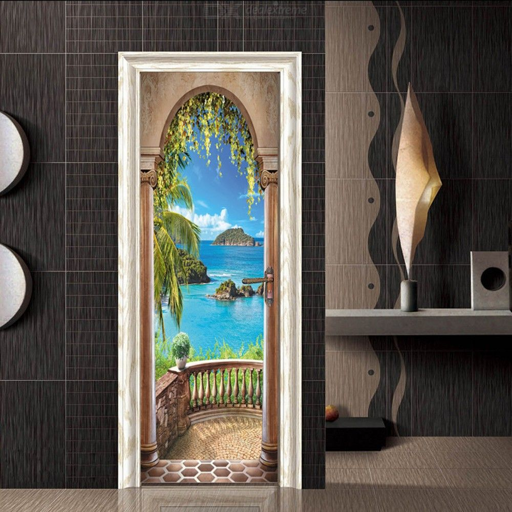 3D Balcony Arch Seascape Door Stickers Self-Adhesive Murals Photo Wall Decals 77x200cm