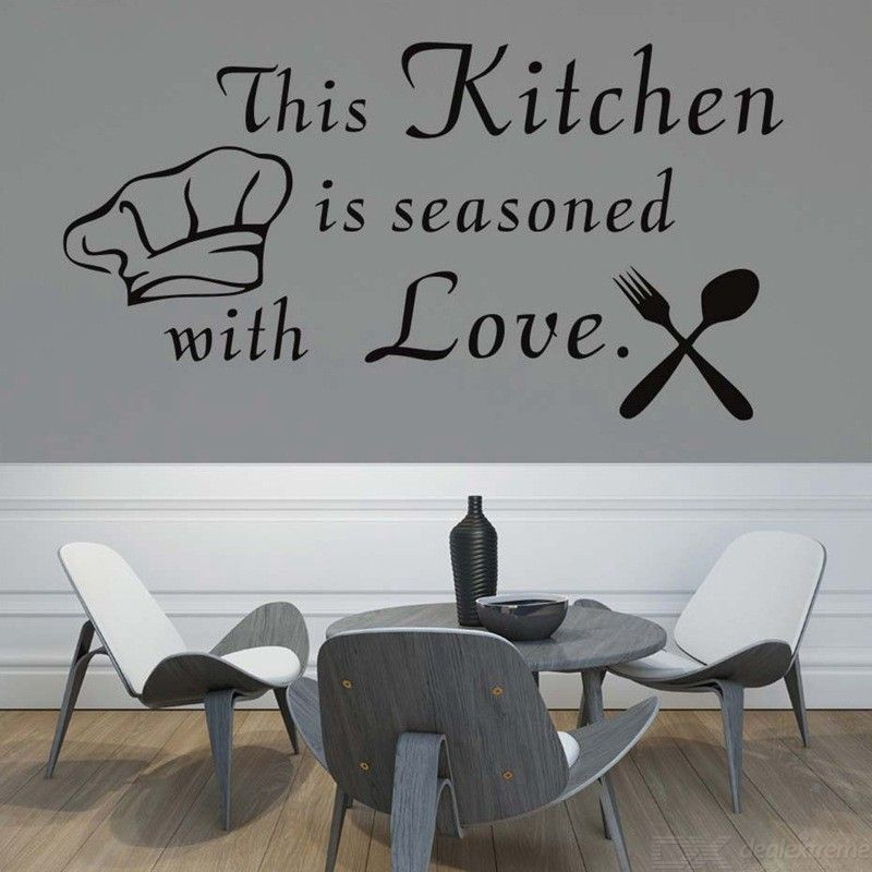 Wall Stickers This Kitchen Is Seasoned With Love Cutlery And Chef Hat Wall Sticker Removable Home Decor Wall Vinyl Decals