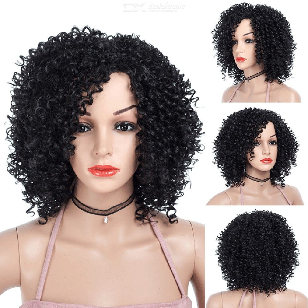 High Temperature Fiber Black Short Kinky Curly Synthetic Hair Wig Hairpiece