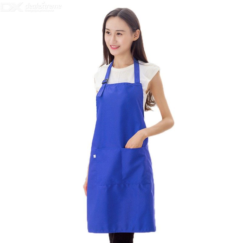 Solid Color Adjustable Bib Apron Waterdrop Resistant Cooking Kitchen Apron With 2 Pockets For Women Men Chef