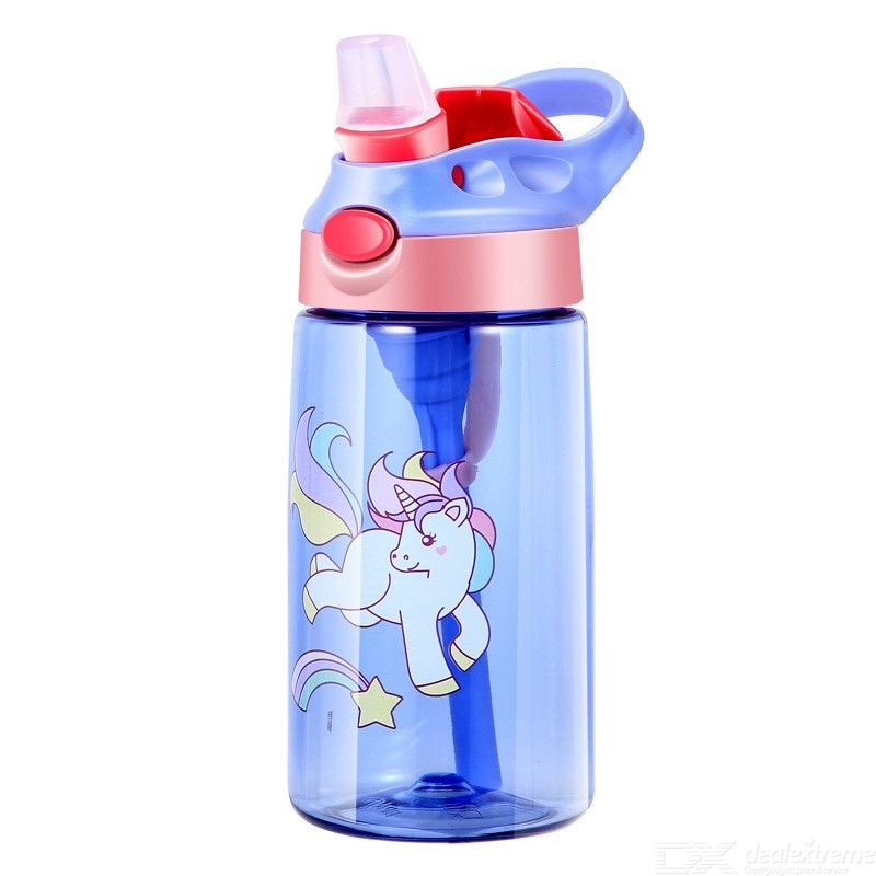 480ML Kids Water Cup, Creative Cartoon Baby Feeding Cup With Straws Leakproof Water Bottle Outdoor Portable Childrens Cup