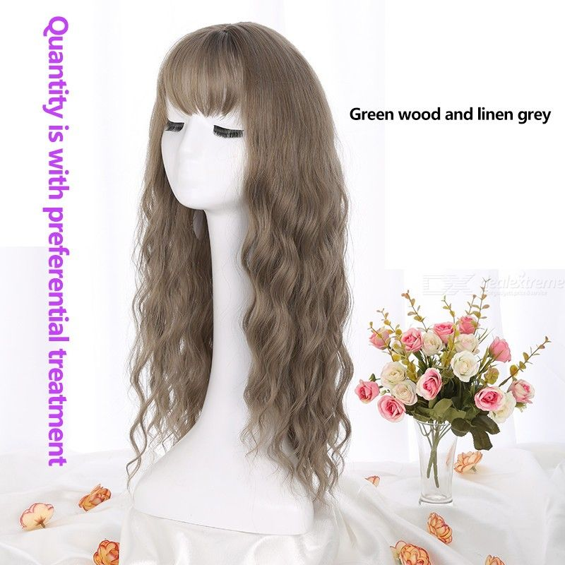 High Temperature Fiber Long Curly Synthetic Wig See-Through Bang Curly Hairpiece