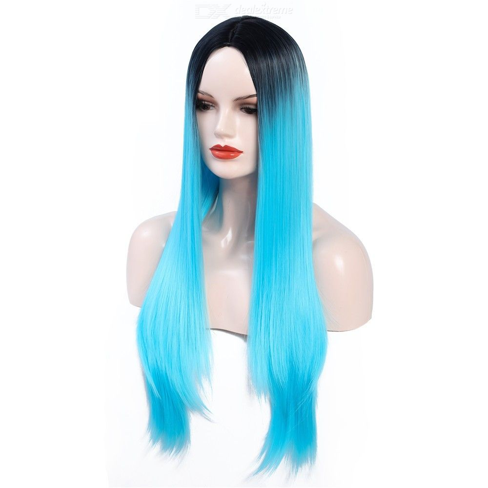 24 Inch Gradient Blue Long Straight Synthetic Wig High Temperature Fiber Hair Wig Hairpiece