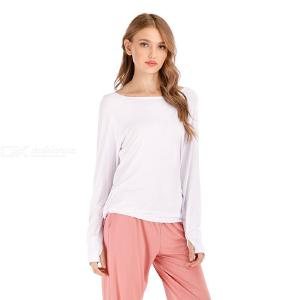 Women's T-Shirt Chic Sexy Backless Loose Boat Neck Long Sleeve T-Shirt