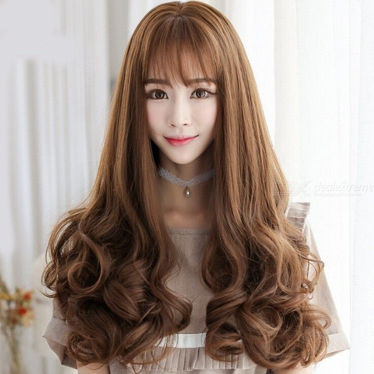 Long Curly Wig For Women Ladies Synthetic Full Hair Wigs With See-Through Bangs For Daily Wear Cosplay Costume Party