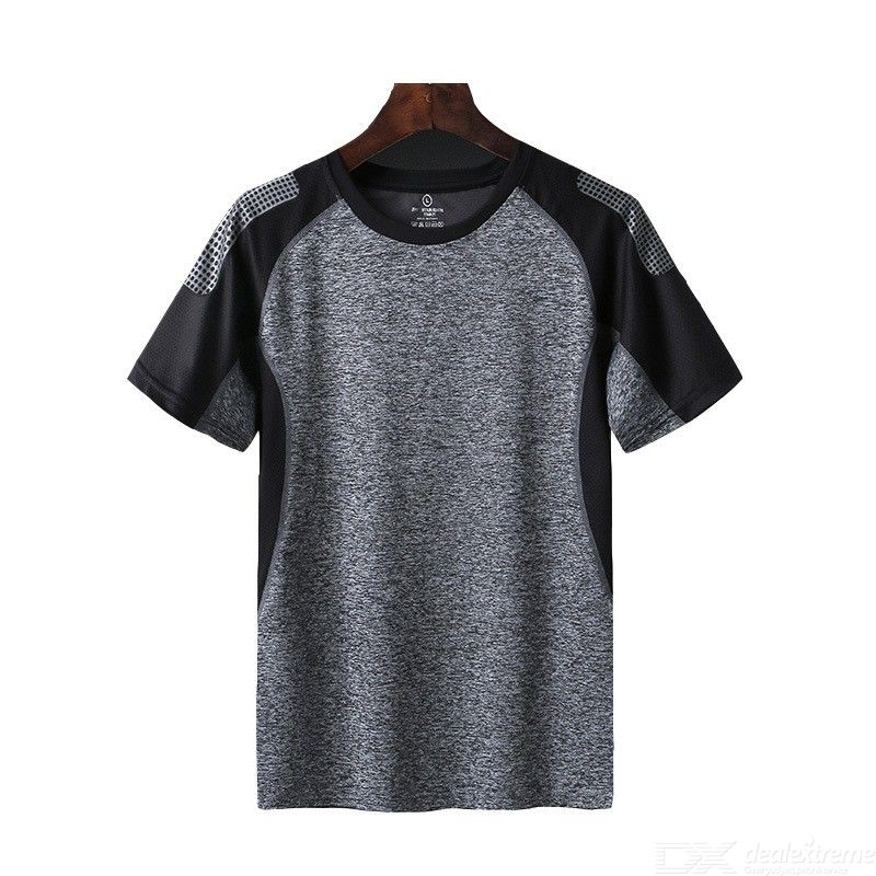 Summer Quick-Dry Short Sleeve T-Shirt Fitness Gym Workout Color Block Soft Tee For Men Women