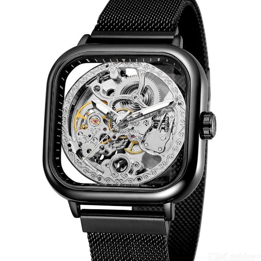 Forsining Men Automatic Mechanical Wristwatch, Hollow-Out Dial Watch With Stainless Steel Mesh Band