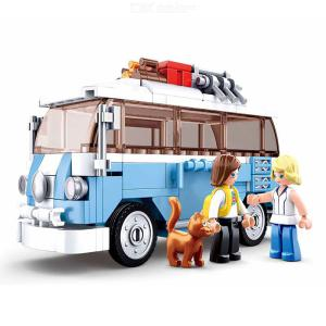 Car Mini Bus Model Building Blocks Puzzle Easy Assembly Educational Toy For Kids Boys Gift