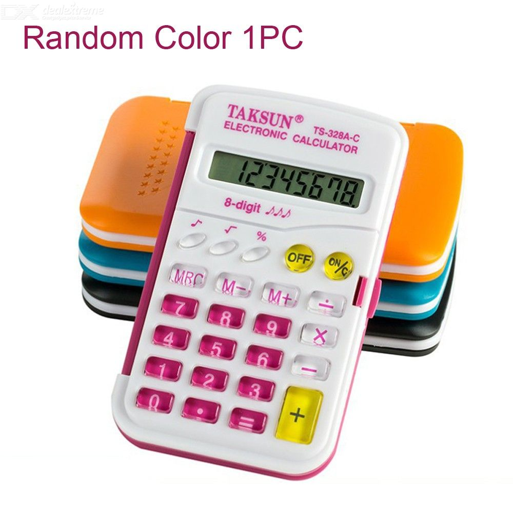 328A-C Colorful Flip-Open Electronic Calculator, Portable 8-Digit LCD Display Calculator For Students - Random Color
