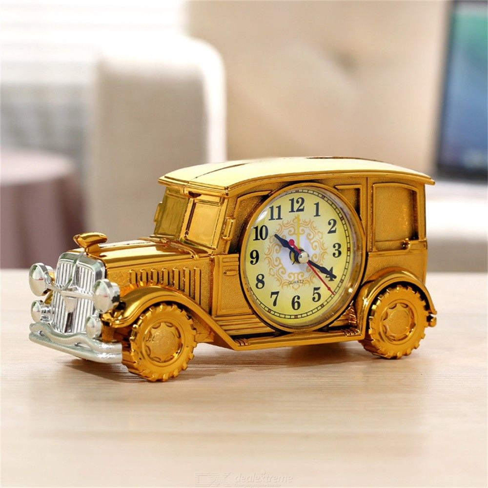 Alarm Clock Retro Car Shaped Battery Operated Bedside Alarm Clock Table Clock Ornament For Living Room Bedroom Study Office
