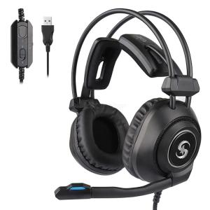KUBITE K-17 Pro Wired Gaming Headset, Noise Reduction USB Over-Ear Headphone With Adjustable Microphone RGB Light Tfor Desktop