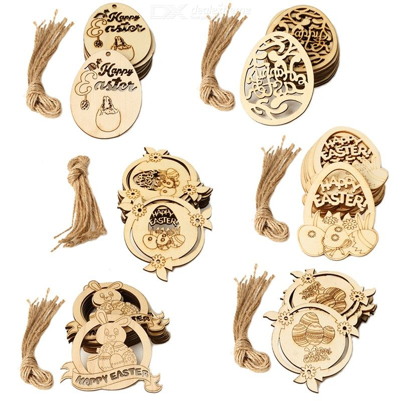50PCS Wooden Easter Eggs Cutout DIY Easter Egg Hanging Ornaments For Easter Party Decorations