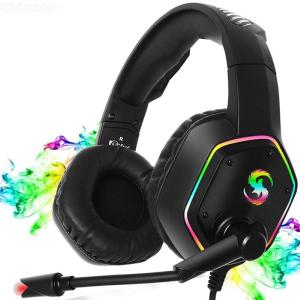 KUBITE K-15 Gaming Headset, 3.5mm USB 7.1CH Over-Ear Wired Headphone With RGB Light Adjustable Microphone Volume Control For PC