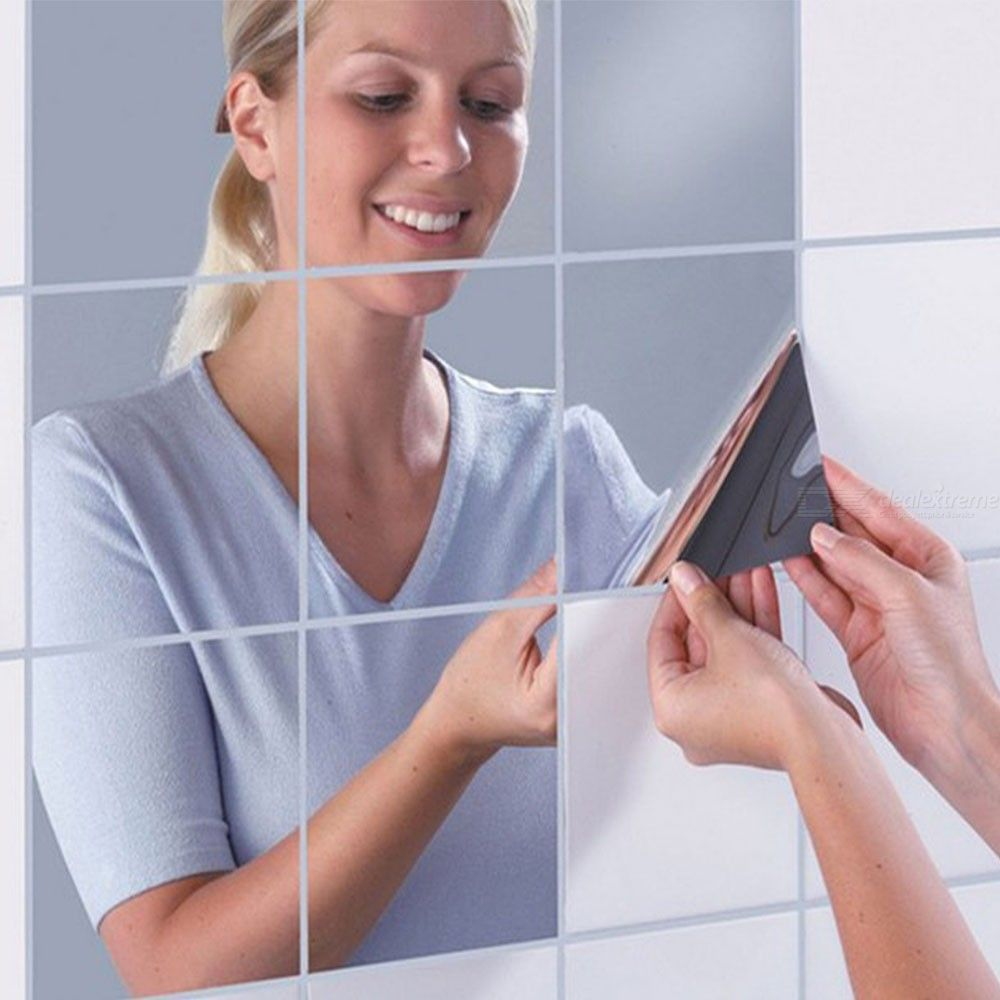 Dx coupon: 0.2mm 50x50cm Square Mirror Wall Sticker, Self-adhesive Tiles 3D Reflective Mirror Decal Decor For Home Wall