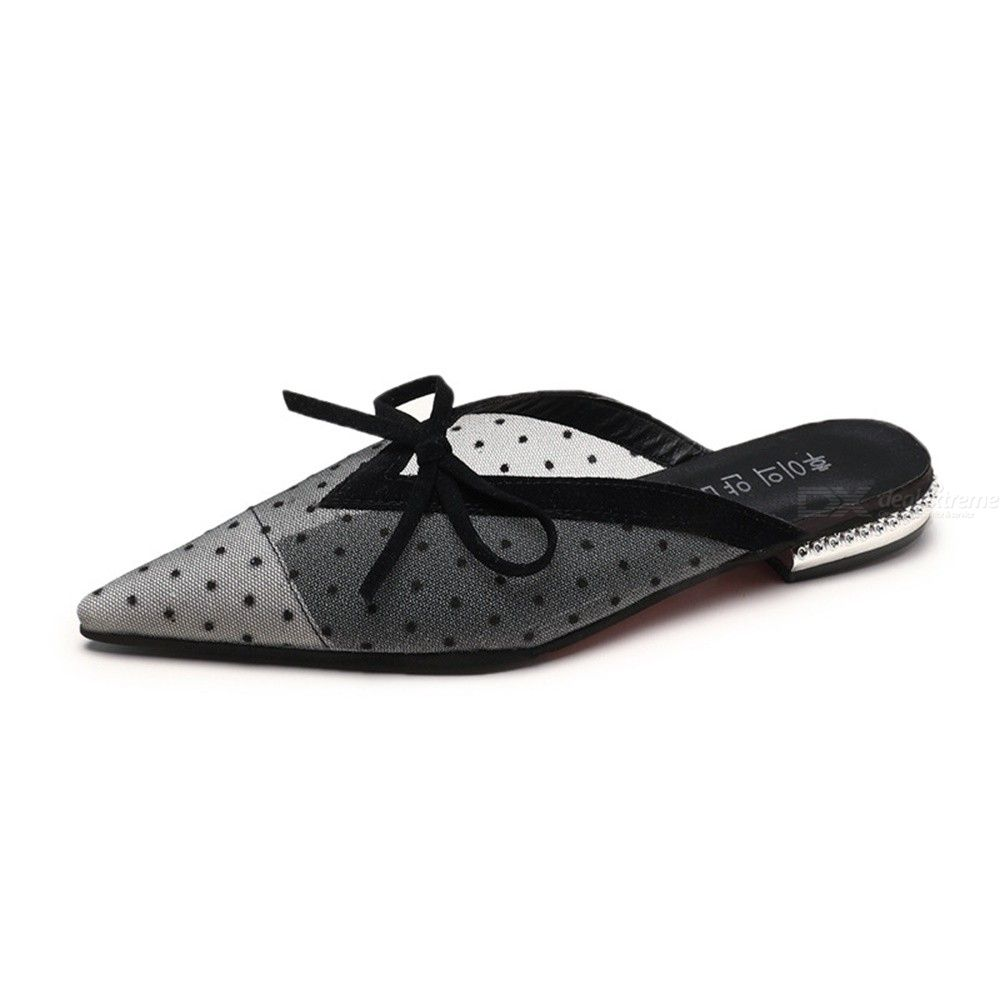 Summer Polka Dot Lace Mesh Flat Mules Shoes, Half Wrap Pointed Slipper For Women Girls