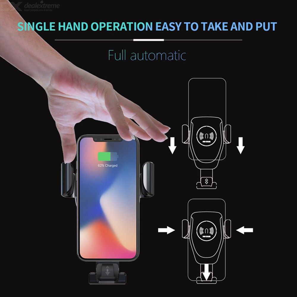 Q12 Car Gravity Holder 10W Qi Wireless Charger, Car Air Vent Outlet Mount Clamp Phone Holder Bracket