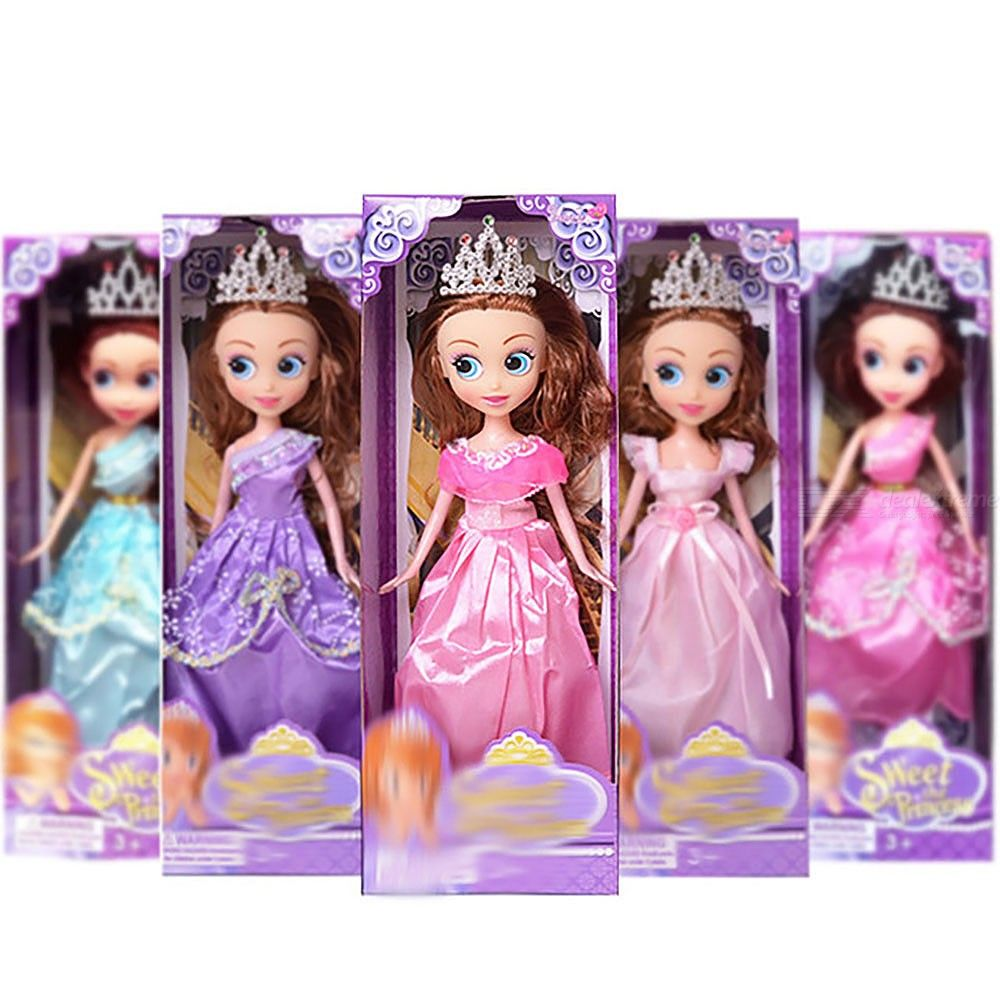 28cm Height Fashion Big Eyes Crown Princess Doll Girls Play House Toy For Kids Children