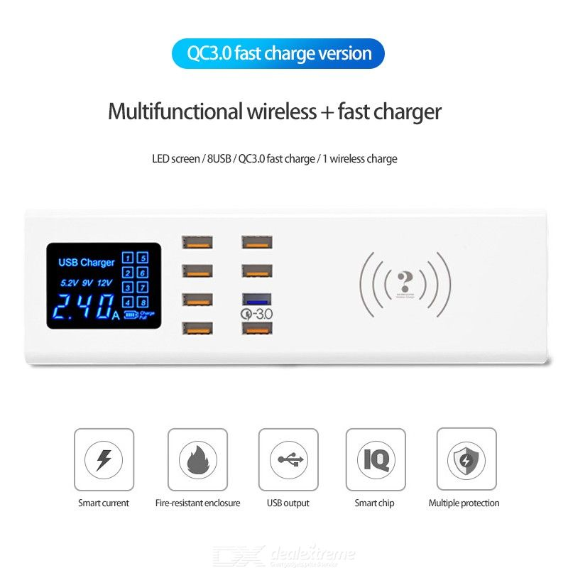 10-Ports USB Charging Station EU Plug 40W QC3.0 Fast Charging Socket Support Wireless Charge For IPhone 11 Pro Xiaomi Note 10