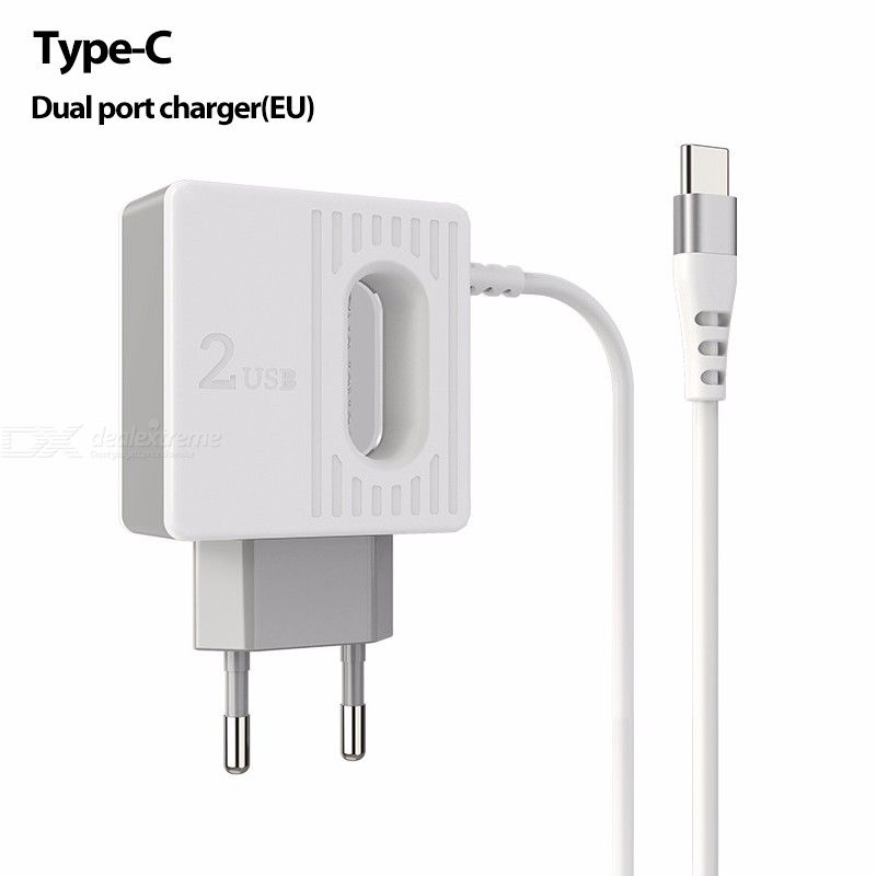 Borofone BA34 2.4A Dual USB Wall Charger With Cable, Universal 2 USB Travel Charger Power Adapter Kit For Phone Tablet - EU Plug
