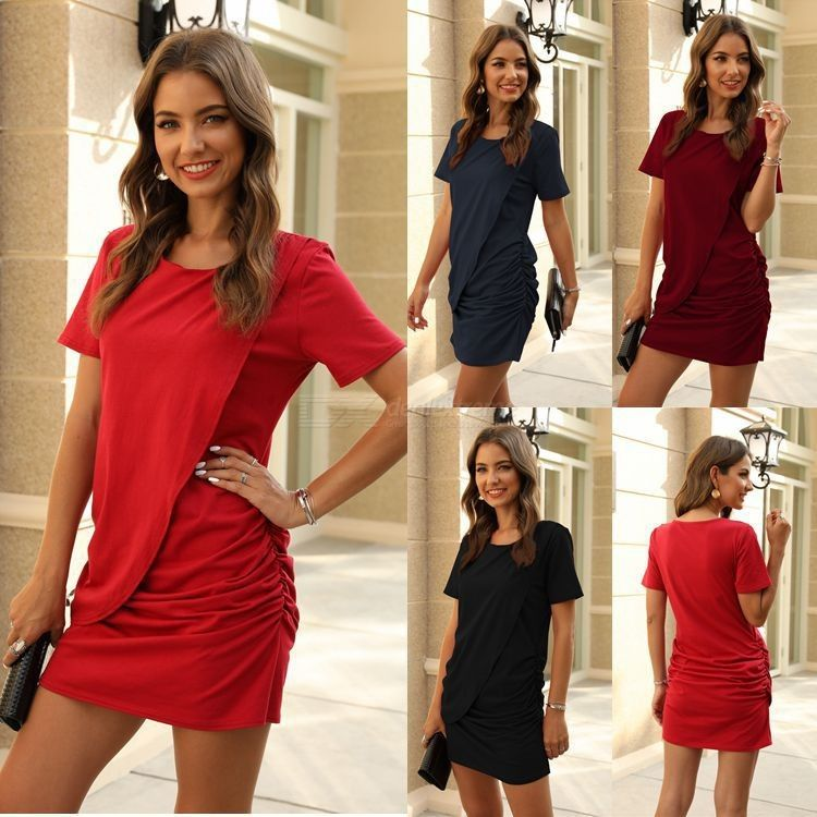 Womens Ruched Cotton Mini Dress Summer Fashion Short Sleeve O-Neck Solid Color Ladies Dresses