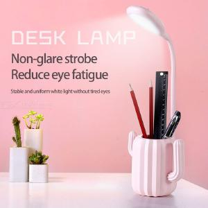 LED Desk Lamp Eye-Caring Table Lamp Creative Cactus USB Rechargeable Office Lamp With 3-Level Brightness Pen Container