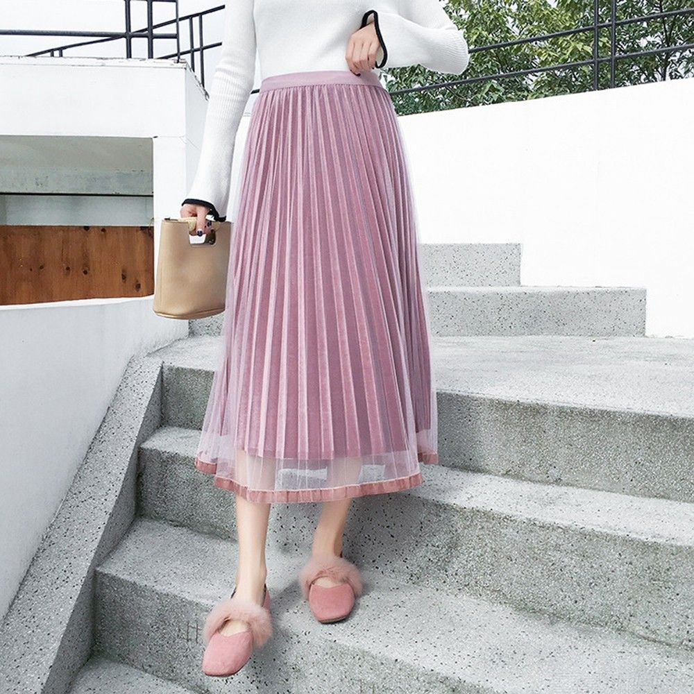 All-match Solid Color Pleated Skirt Casual Mesh Dress