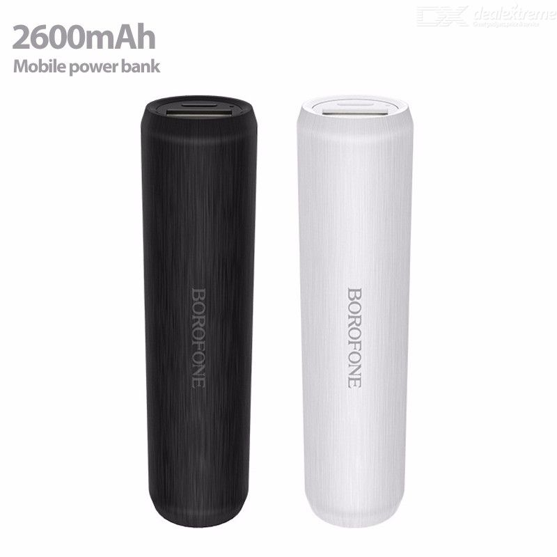 Borofone BT2A Portable 2600mAh Power Bank, Mini Bar-Shaped Rechargeable 18650 Lithium External Battery Backup Charger For Phones