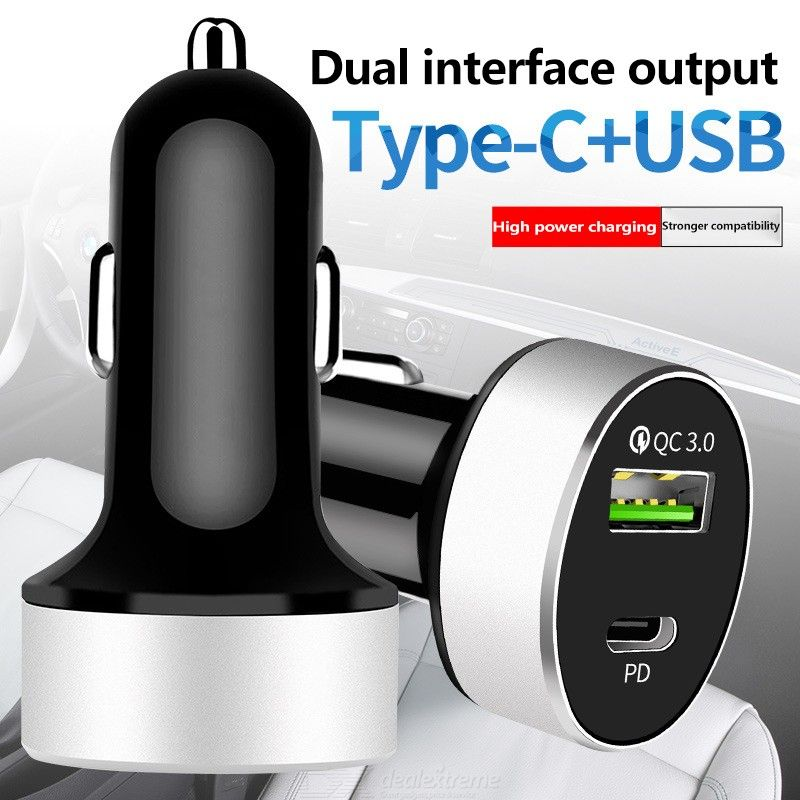 C106 Portable Type-C USB Car Charger, PD USB-C QC3.0 Car Cigarette Lighter Fast Charger For Mobile Phones Tablets