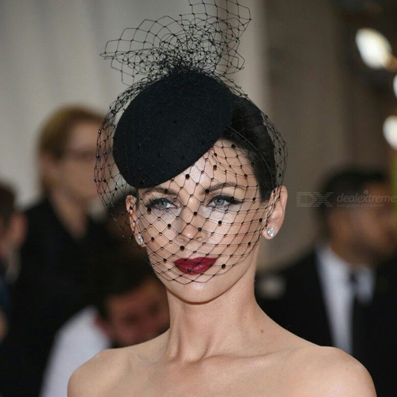 Mesh Fishnet Veil Hat All-match Small Plush Wave Point Fedoras For Wedding Cocktail Party