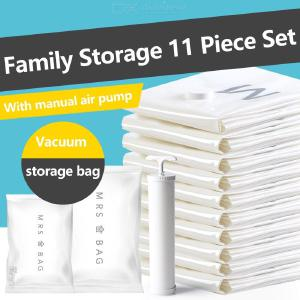 Vacuum Storage Bag Set, 10PCS Compression Space Saver Dust Bags With Hand Pump For Quilts Pillows Clothes